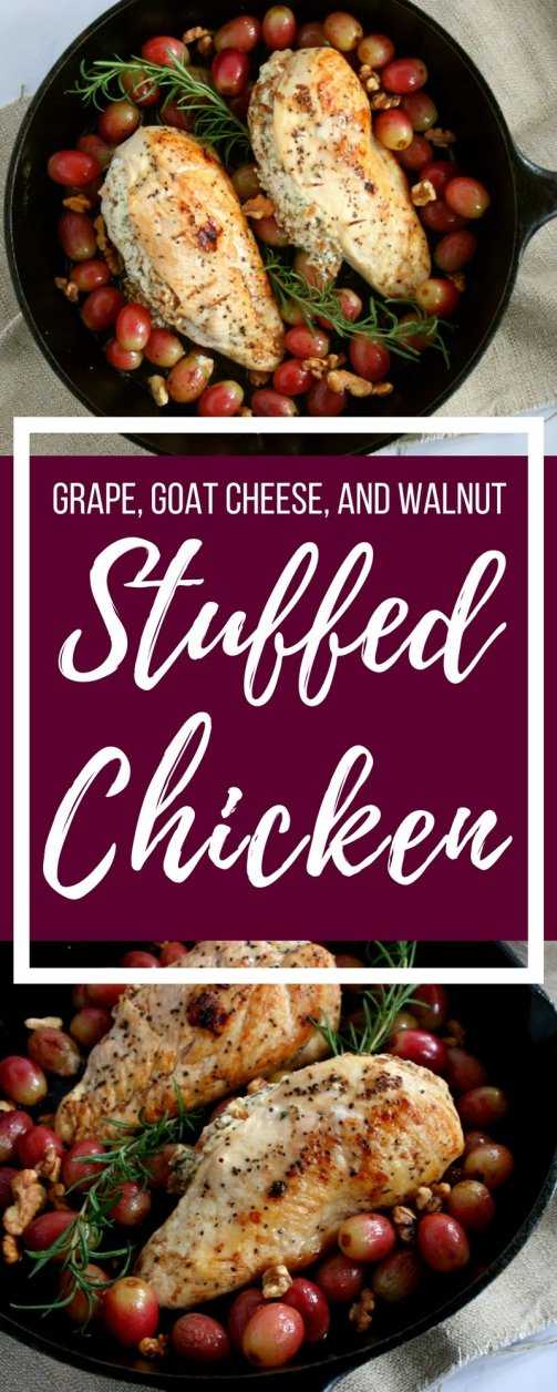 #AD Spice up your normal dinner routine with this Stuffed Chicken Breast with Grapes, Goat Cheese, and Walnuts recipe. In just under 40 minutes, this simple, but elegant entrée is table ready.
