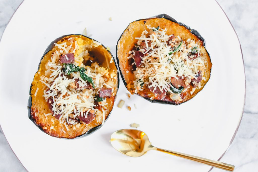 My sausage stuffed acorn squash is here just in time for Thanksgiving. This healthy fall side or entree is sure to be a crowd pleaser. For a vegetarian option, try a meat free sausage. I promise, it's equally delicious!