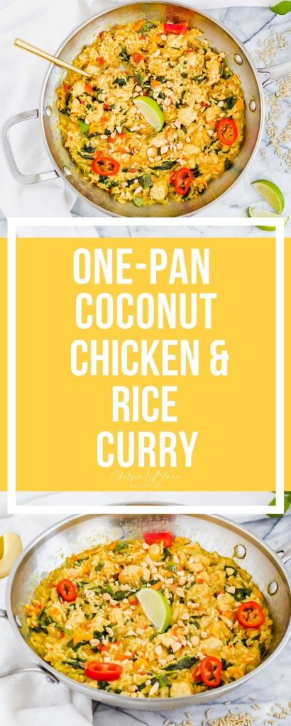 #AD One-pan coconut chicken and rice curry is the best weeknight dinner to spice up meal time. It's made in one skillet making clean up a breeze!