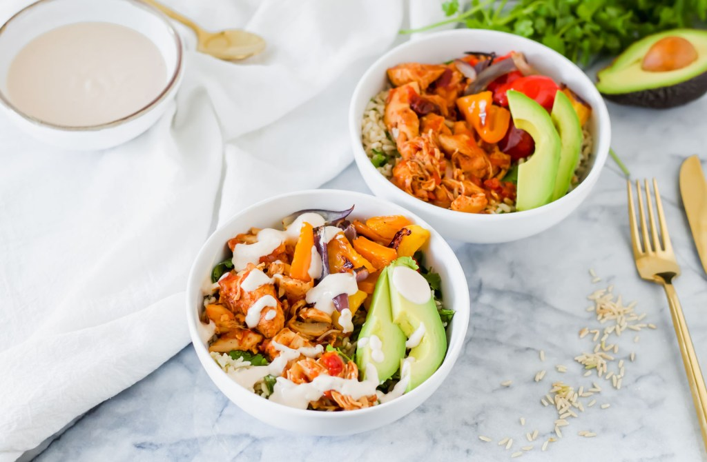 Instant pot chipotle chicken rice bowls come together in no time! These hearty bowls are full of flavor and are great for meal prep!