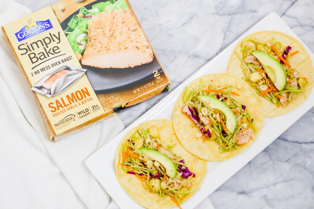 Dinner in 30 minutes? Yes Please! These Easy salmon tacos with pineapple broccoli slaw are ready fast and require minimal clean up!