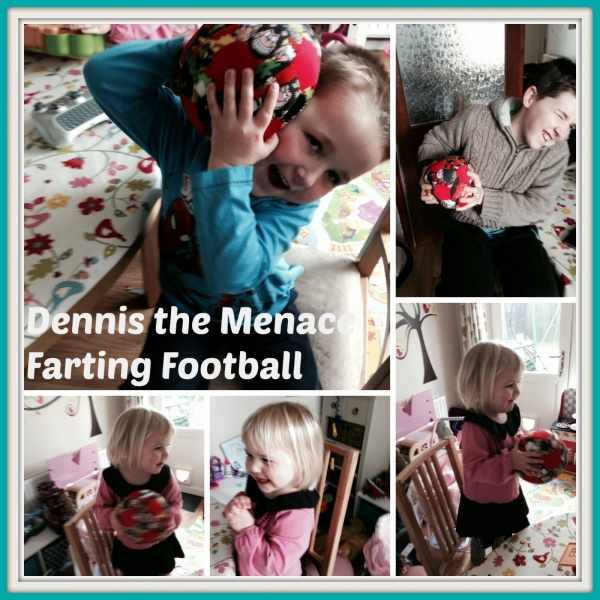 Dennis the Menace farting football