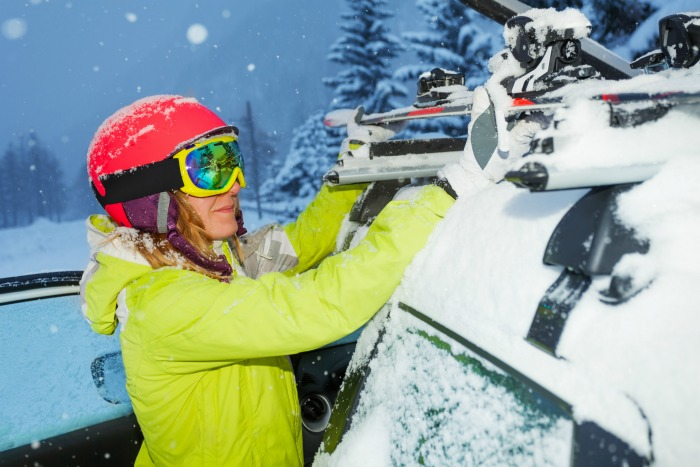 Ski's on a car