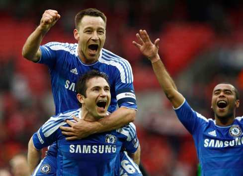 Chelsea's Terry, Lampard and Cole celebrate after their FA Cup final soccer match against Liverpool at Wembley Stadium in London