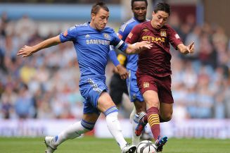Chelsea's+John+Terry+and+Manchester+City's+Samir+Nasri+battle+for+the+ball+during+the+FA+Community+Shield+at+Villa+Park