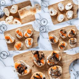 Butternut Squash Mushroom Crostini process shots