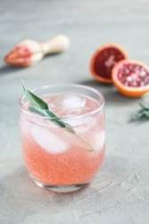 Sparkling Blood Orange Gin Cocktail in aglass with sage in the glass and ice. There is a blood orange and juicer in the back on a grey surface