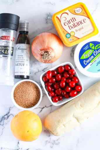 All of the ingredients for Caramelized Onion Cranberry Bruschetta