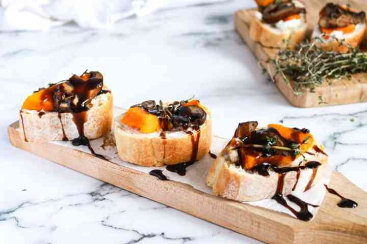 Butternut Squash Mushroom Bruschetta on a board