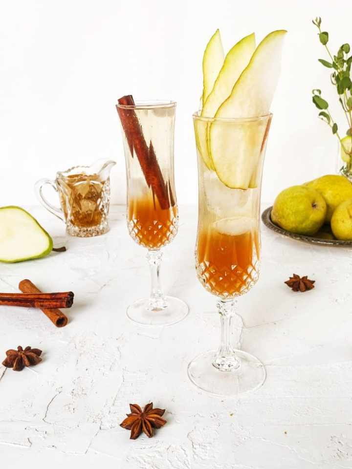 Spiced Pear Prosecco in crystal glasses