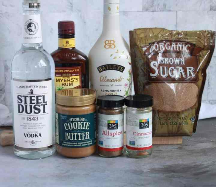 Cookie Butter Cocktail ingredients lined up