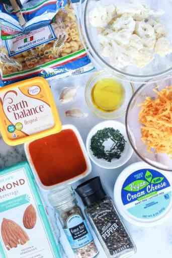 Ingredients for Buffalo Cauliflower Vegan Mac and Cheese
