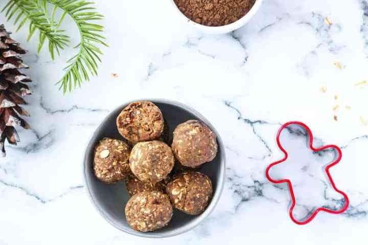 No Bake Gingerbread Protein Balls in a bowl