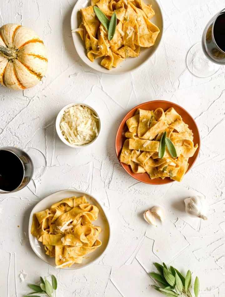 Pumpkin Sage Pasta plated with red wine