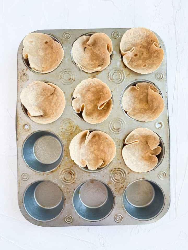 Tortilla Shells in muffin tin