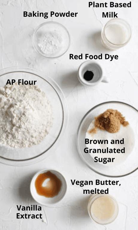 Ingredients all laid out in separate bowls for the sugar cookies