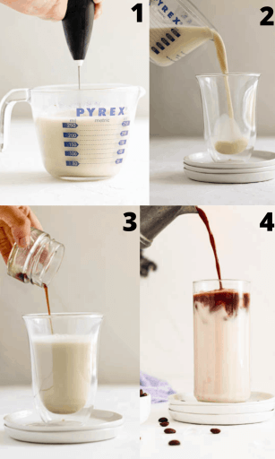 Process Shots for iced oat latte (collage of four pictures)
