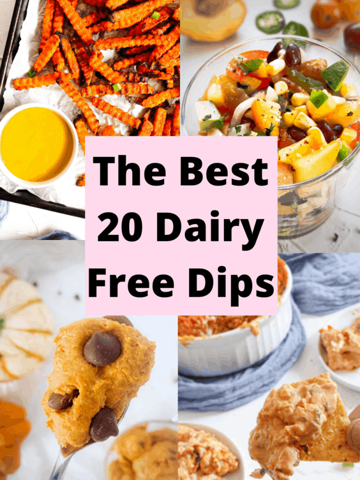 a collage of four different dairy free dips including honey mustard. pumpkin dip. salsa and buffalo dip