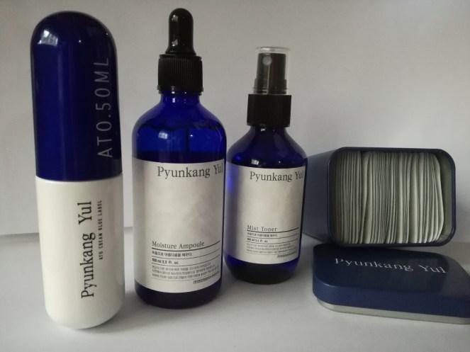 Pyunkang Yul set; (left to right) ATO Cream 50ml, Moisture Ampoule 100ml, Mist Toner 100ml, Eye Cream (1ml X 50ea)