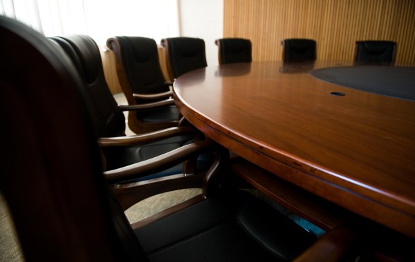 conference table, with black chairs