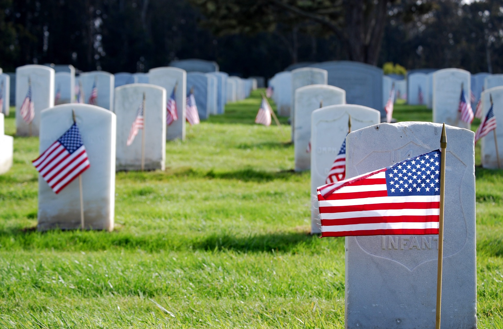 veteran cemetery headstones with flags