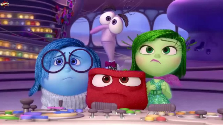 The characters in this image are from the movie Inside Out and they represent sadness (blue), fear (purple), anger (red), and envy (green).