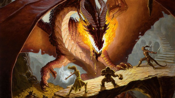 Three elves fight a dragon.