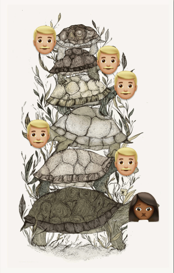 Turtles stacked on top of each other. The top turtles all have the white man emoji over their faces. The bottom turtle has a woman of color emoji face.