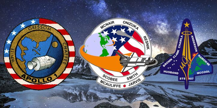 The mission patches for Apollo 1, Challenger, and Columbia. Image courtesy of Ars Technica.
