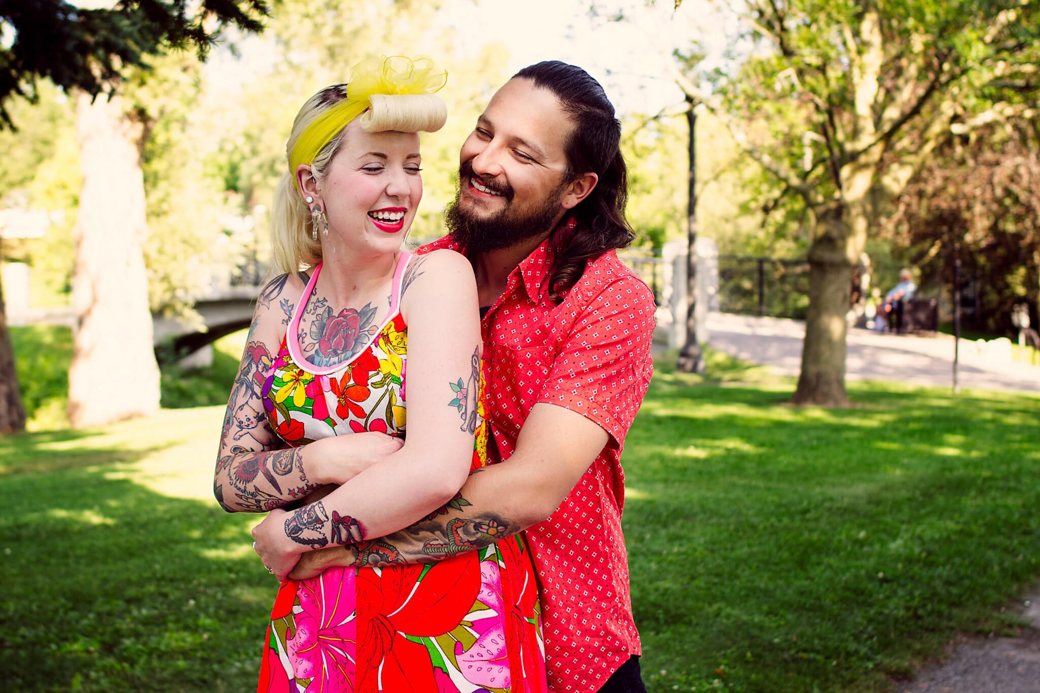 couple laugh in valleyview park photos oshawa