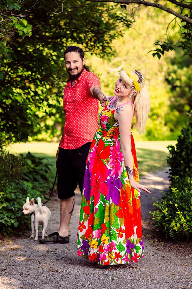 couple walking dog in oshawa park