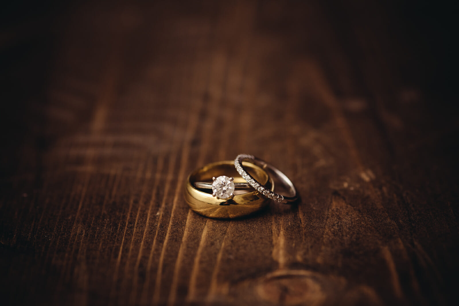 macro shot of couples wedding rings