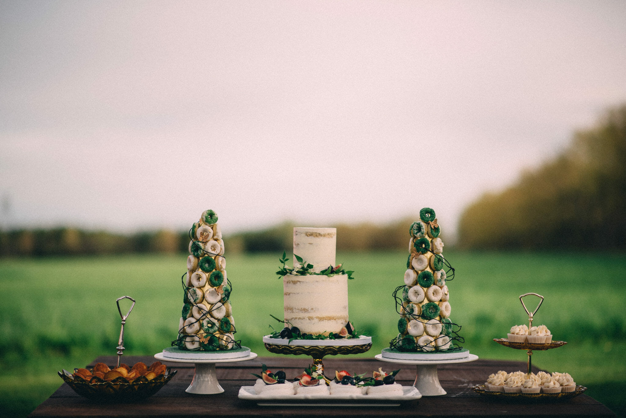 naked cake and tiny donut tower