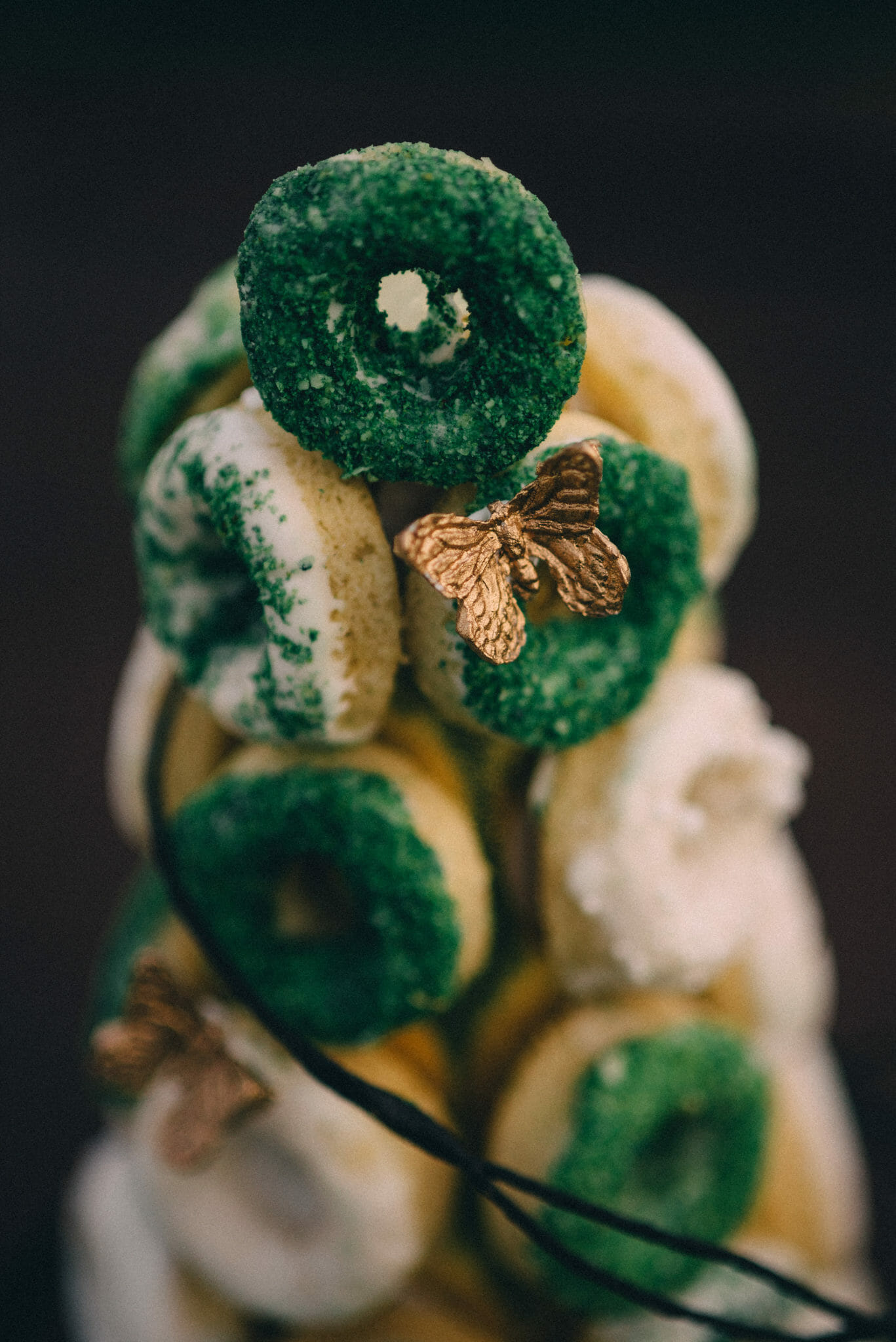 nature inspired tiny donut tower with butterfly