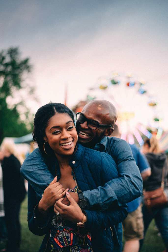 couple laugh at the brooklin spring fair