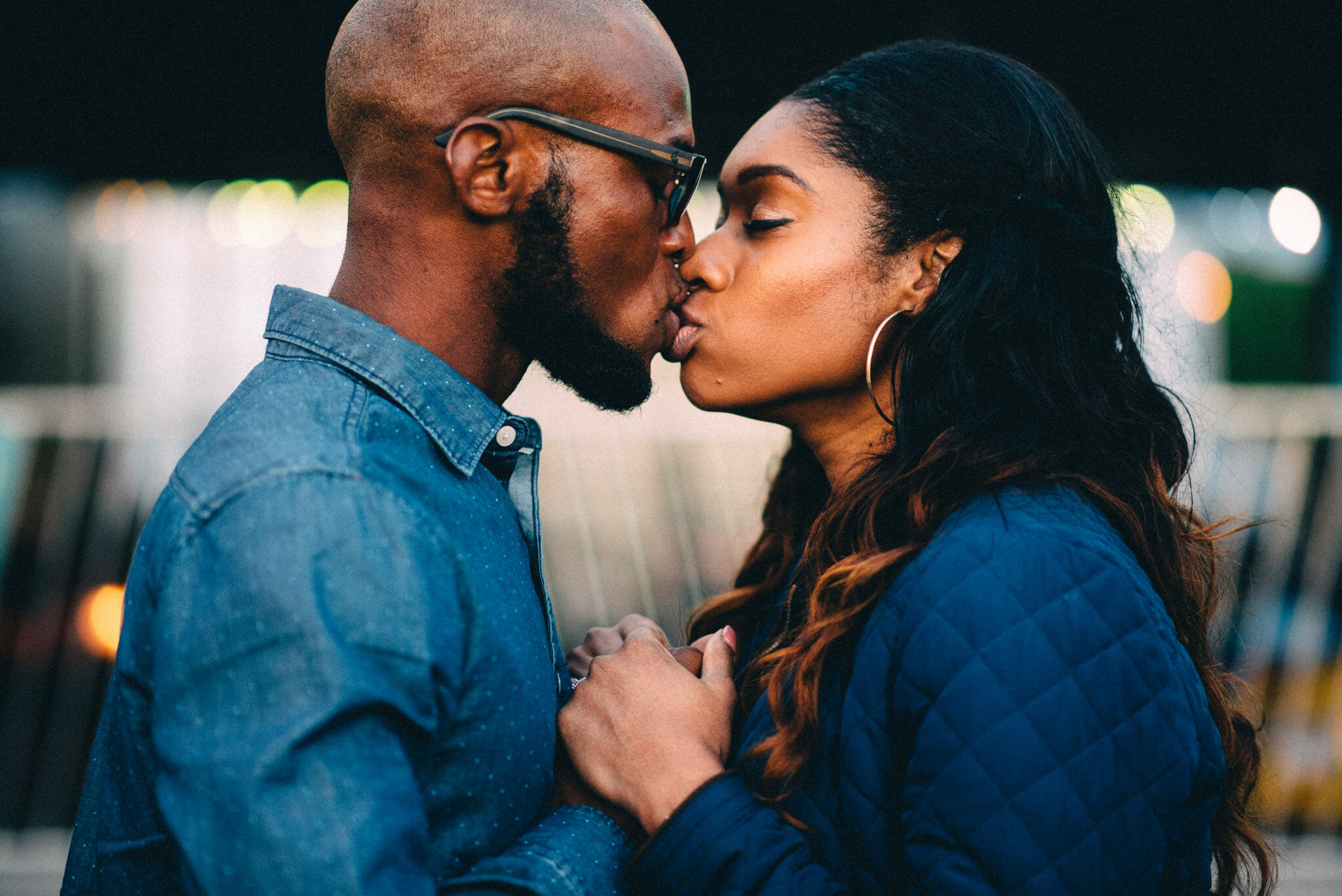 couple kiss at brooklin engagement photos