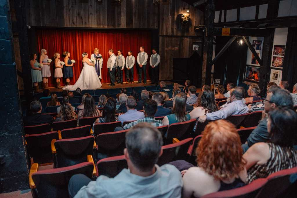 wedding ceremony at herongate barn theatre