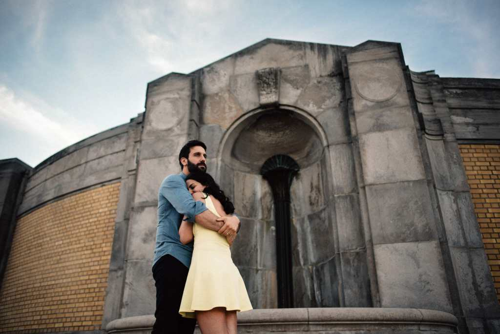 married couple hug during toronto couple session