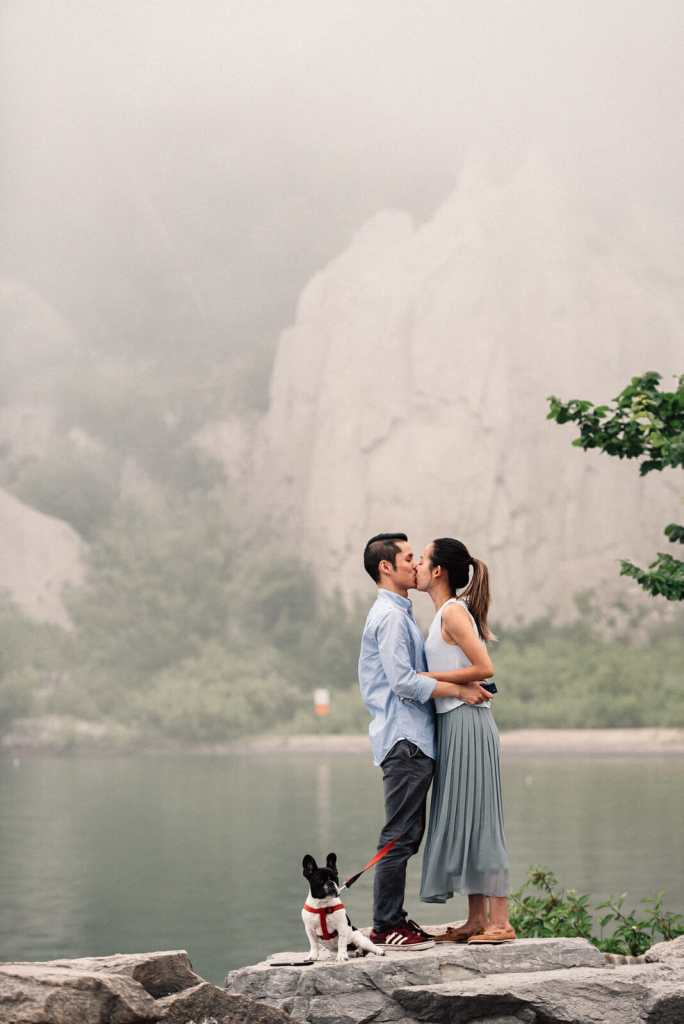 newly engaged couple kiss moments after proposal