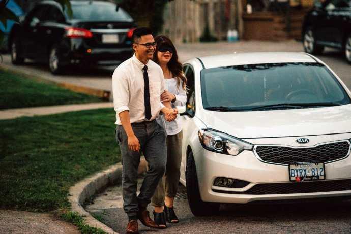 boyfriend leads girlfriend to secret proposal spot