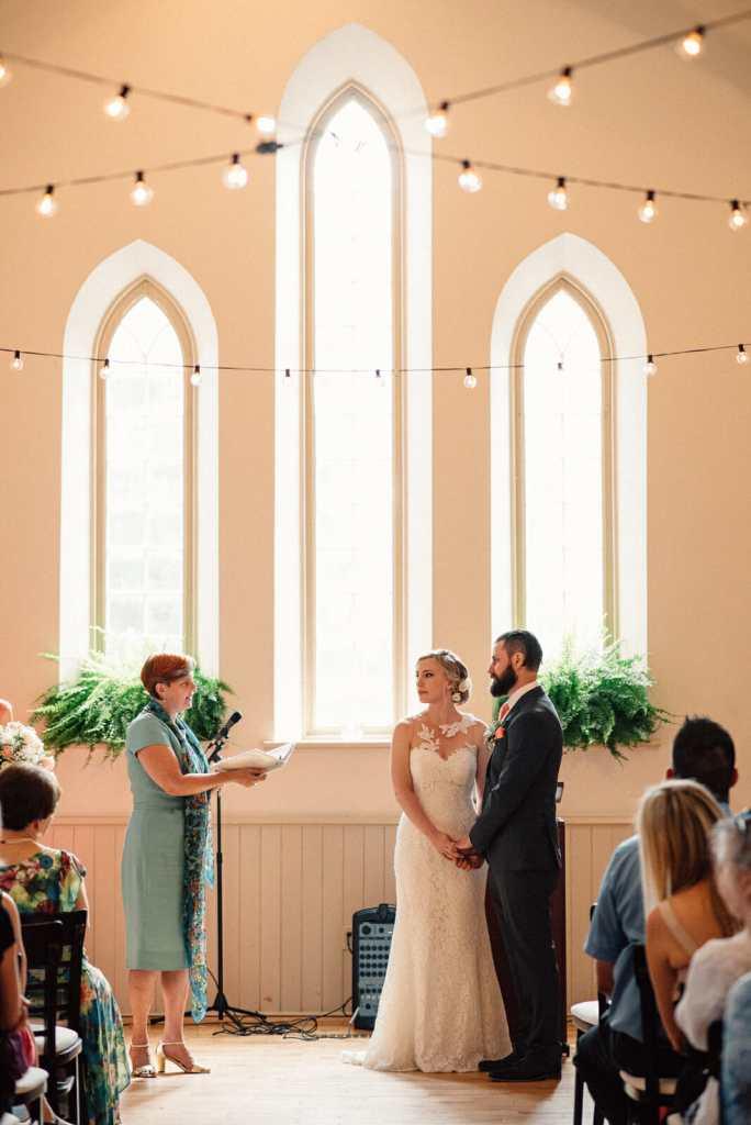 wedding ceremony inside historic toronto enoch turner schoolhouse