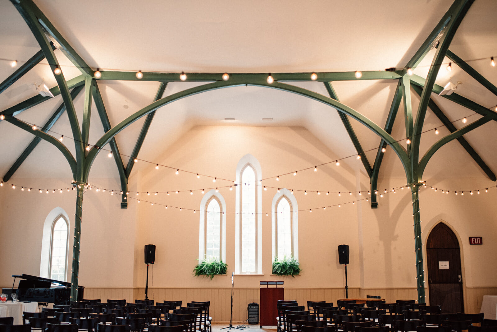 enoch turner schoolhouse set up for wedding ceremony