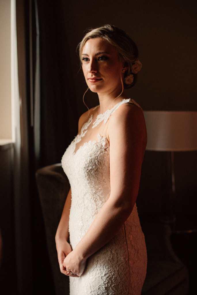fresh bridal portrait at bride getting ready