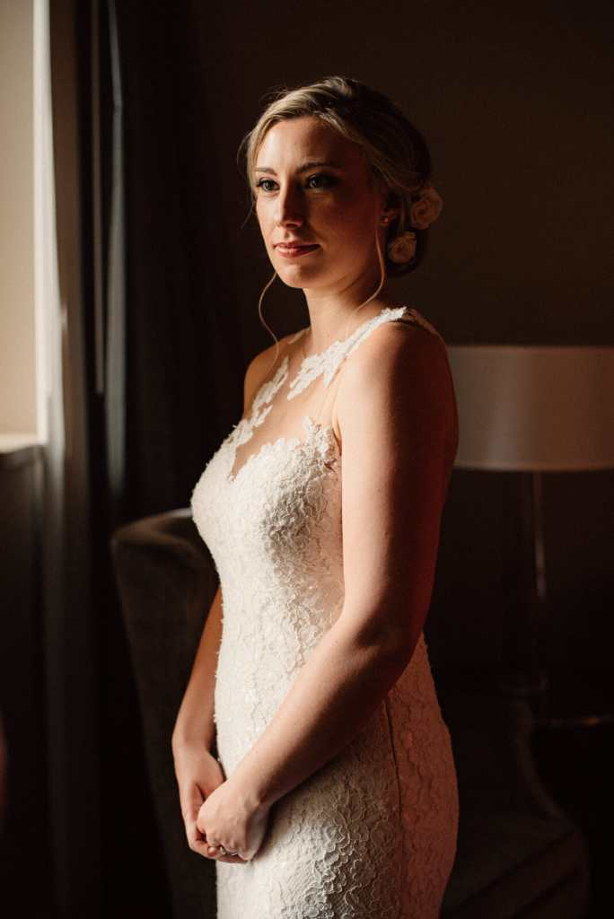 fresh bridal portrait at bride getting ready