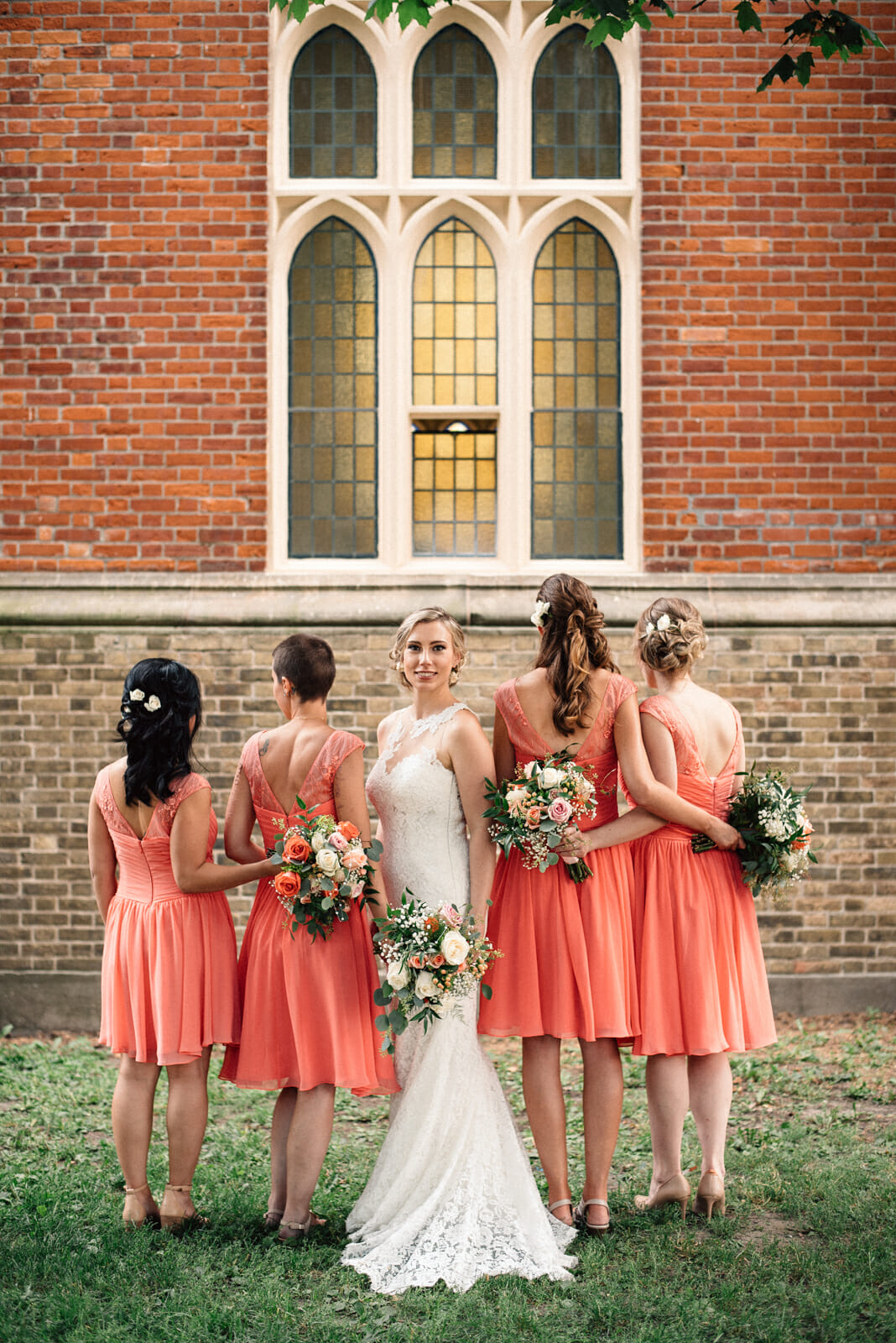 bridal party photos at enoch turner schoolhouse