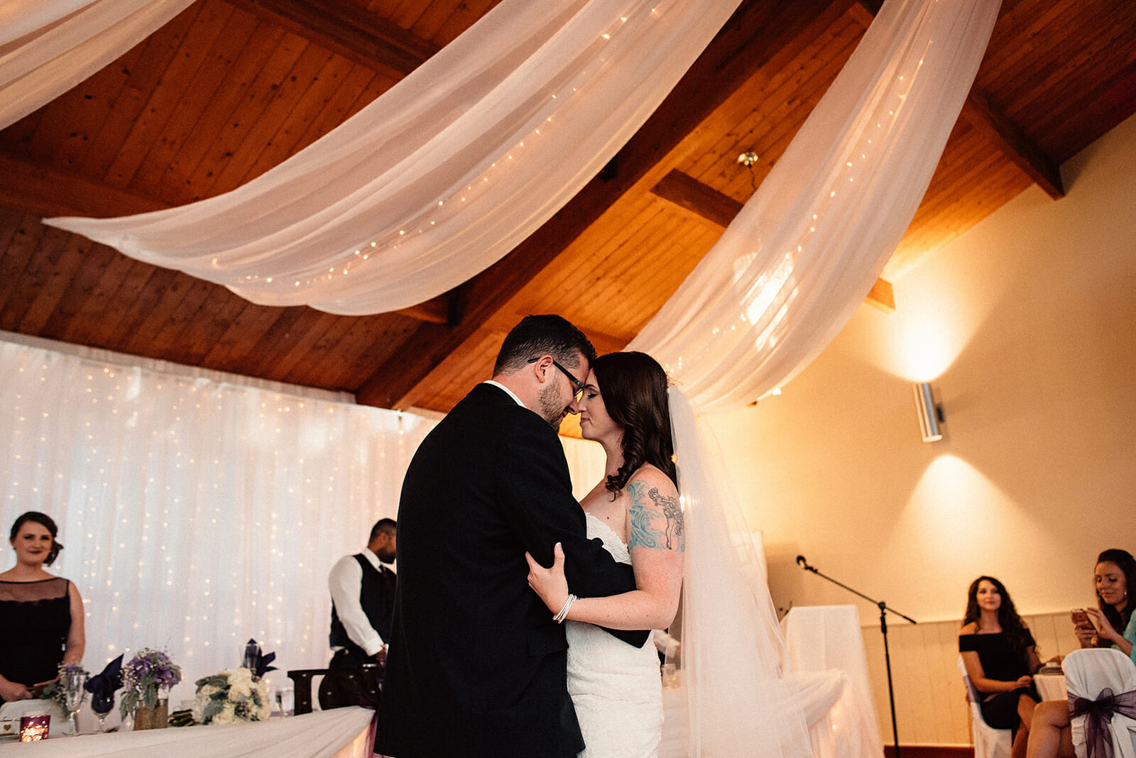 newlyweds share in a first dance at kedron dells