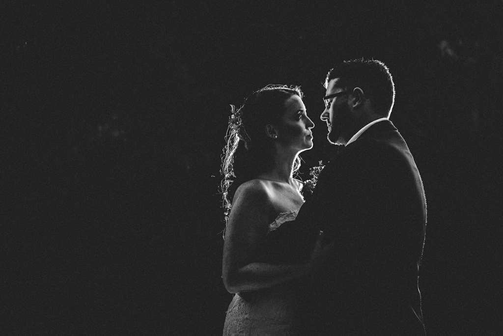 night portrait of bride and groom in oshawa