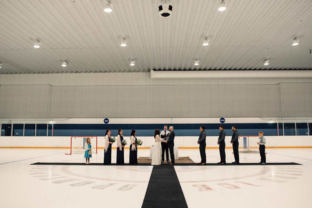 unique wedding ceremony location hockey