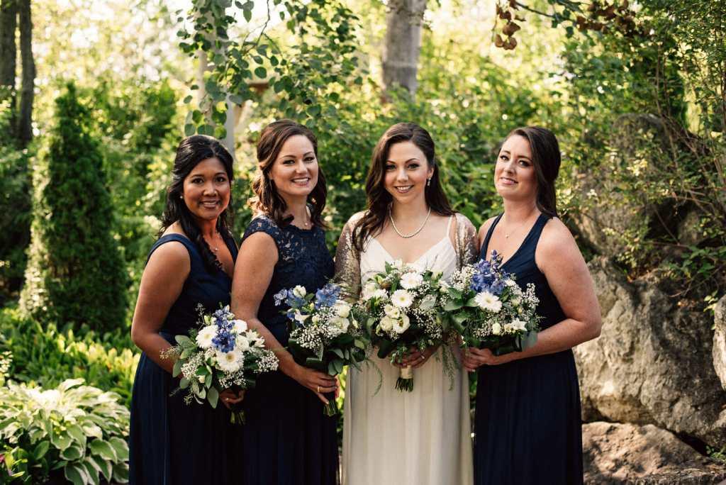 bridal party photos in wedding garden nottaawasaga