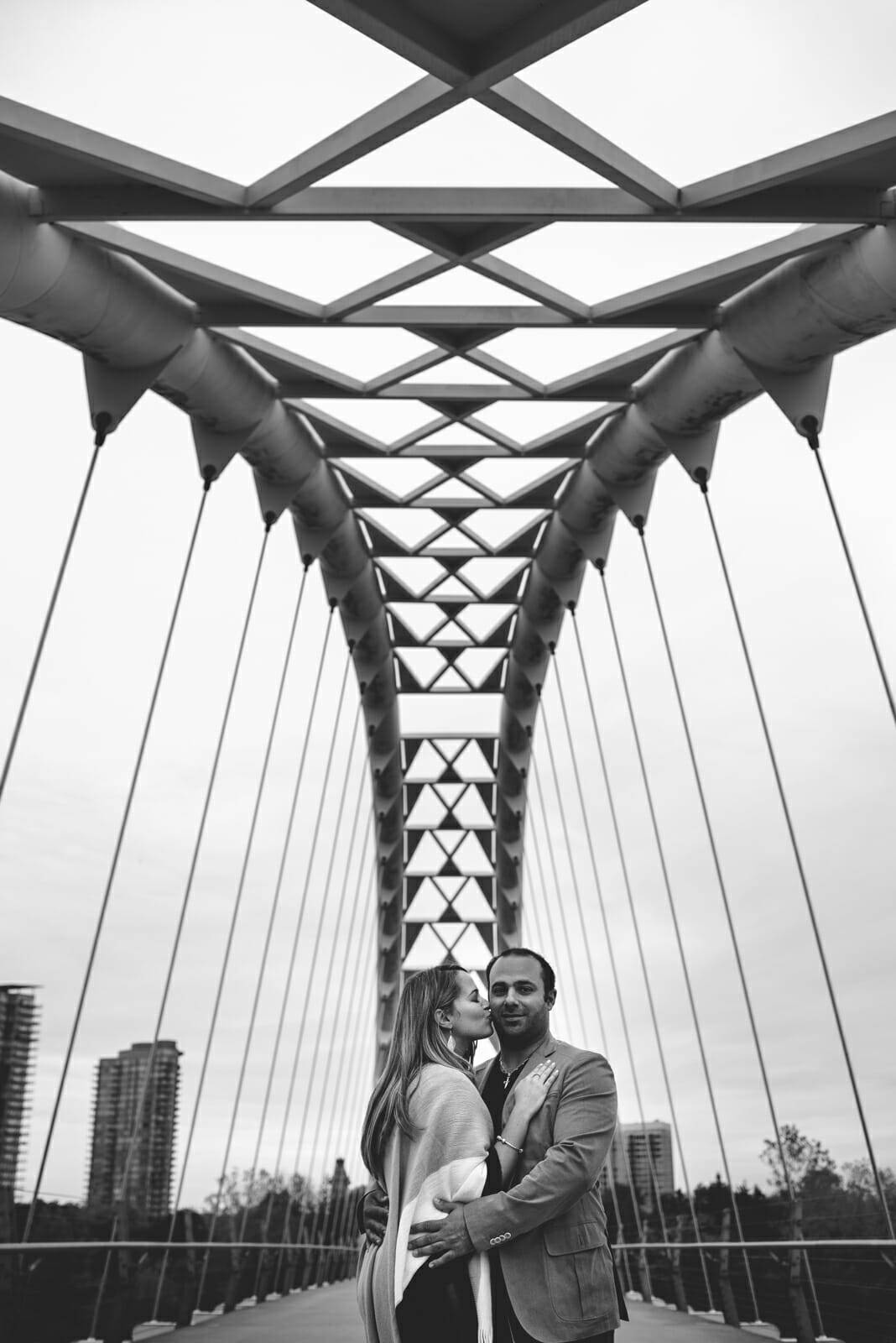 couple photos under the humber bay arch bridge